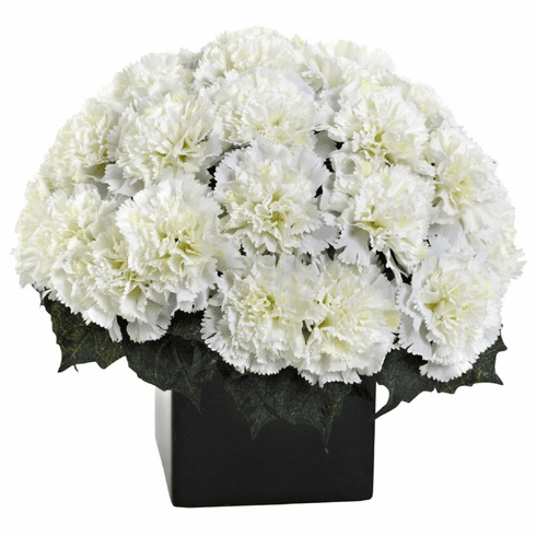 "11"" Carnation Arrangement in Vase - Cream Color"