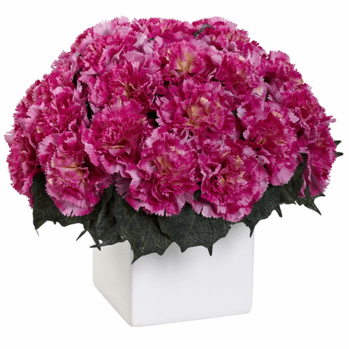 "11"" Carnation Arrangement in Vase - Dark Pink Color"