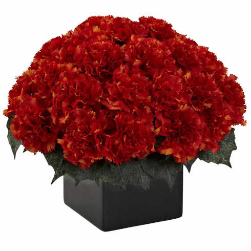 "11"" Carnation Arrangement in Vase - Orange Color"