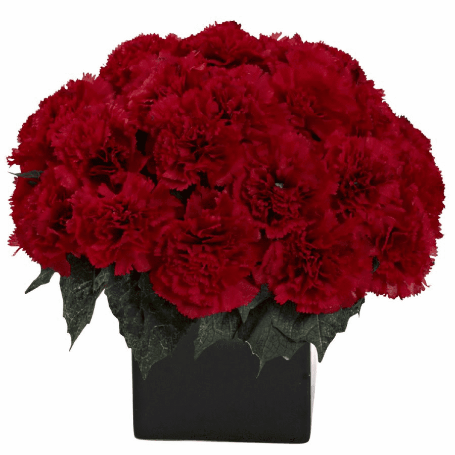 "11"" Carnation Arrangement in Vase - Red Color"