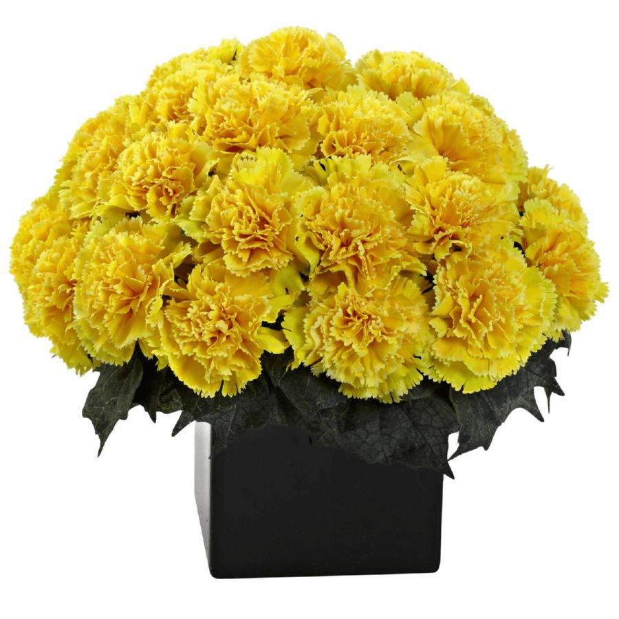 "11"" Carnation Arrangement in Vase - Yellow Color"