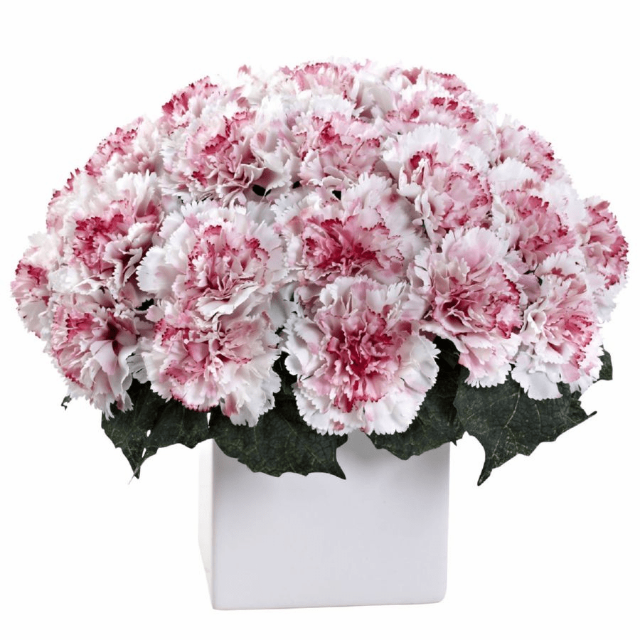 "11"" Carnation Arrangement with Vase - White Mauve"