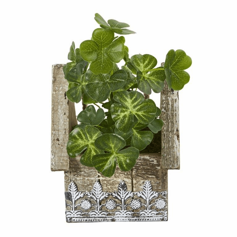 11� Clover Artificial Plant in Hanging Floral Design House Planter