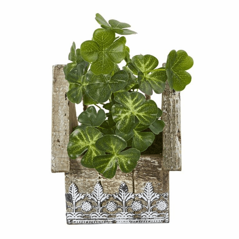 "11"" Clover Artificial Plant in Hanging Floral Design House Planter"