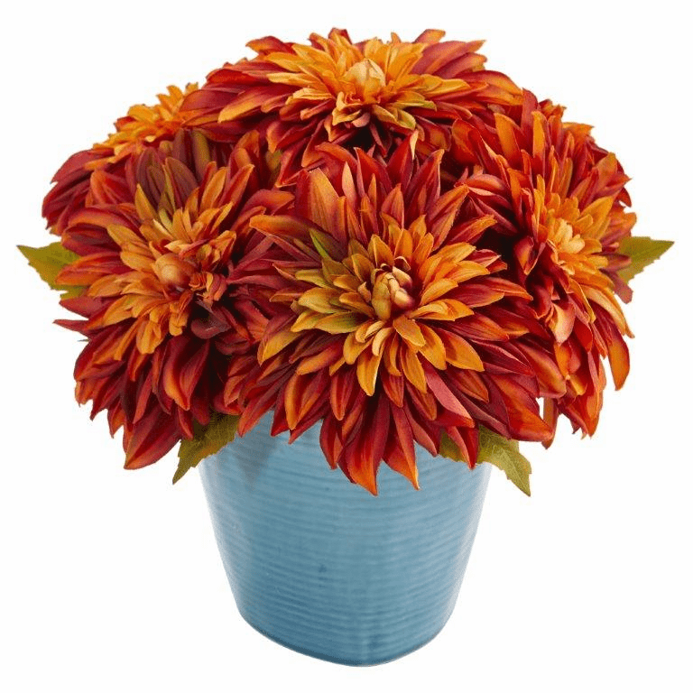 11�� Dahlia Artificial Arrangement in Blue Ceramic Vase - Orange