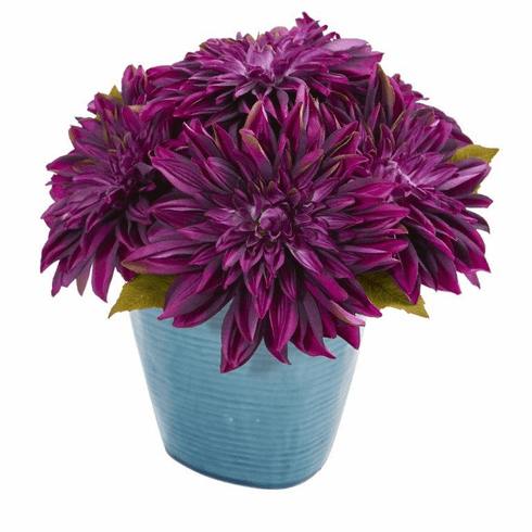 11'' Dahlia Artificial Arrangement in Blue Ceramic Vase - Purple