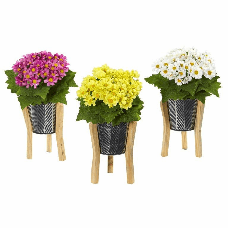 11� Daisy Artificial Arrangement in Tin Vase (Set of 3)