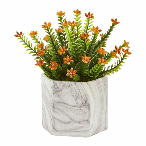 "11"" Flowering Sedum Artificial Plant in Marble Vase"