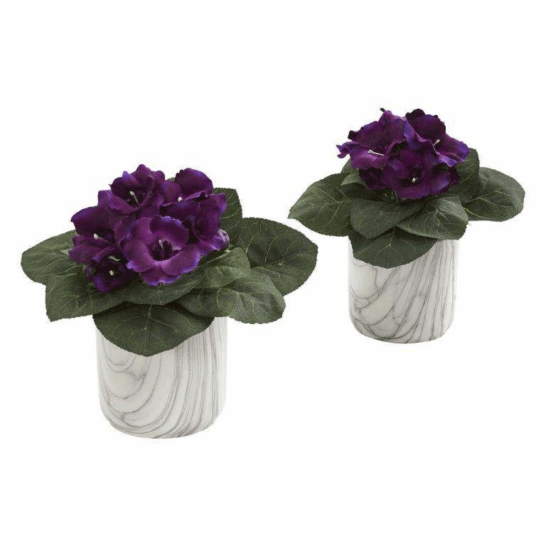 "11"" Gloxinia Artificial Plant in Marble Finished Vase (Set of 2)"