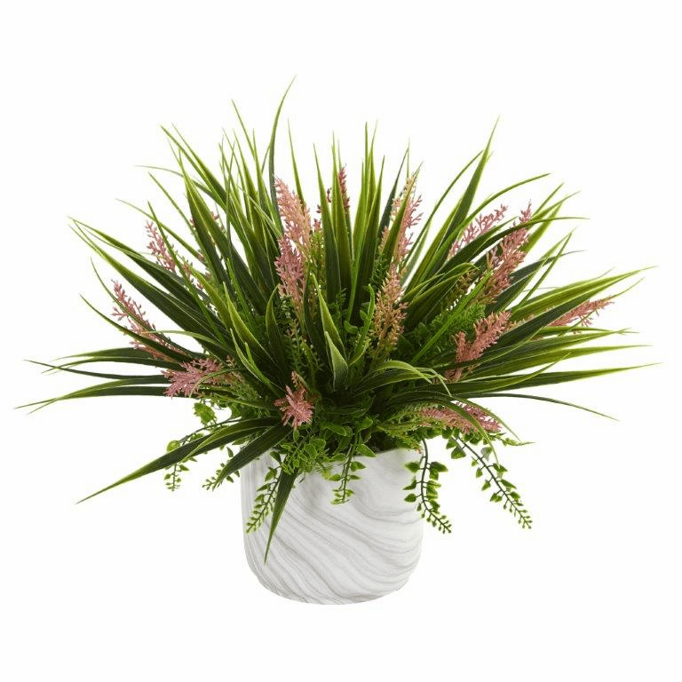 "11"" Grass and Fern Artificial Plant in Marble Finished Vase"