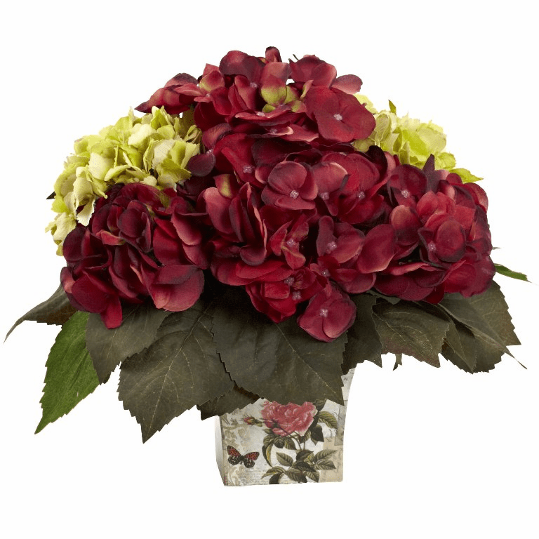 "11"" Green & Burgundy Hydrangea Silk Flower Arrangement"