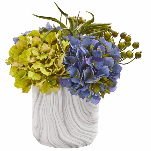 "11"" Hydrangea and Berries Artificial Arrangement in Marble Finished Vase - Blue"