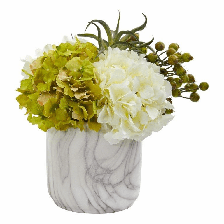 "11"" Hydrangea and Berries Artificial Arrangement in Marble Finished Vase - Cream"