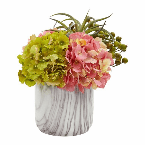 "11"" Hydrangea and Berries Artificial Arrangement in Marble Finished Vase - Pink"