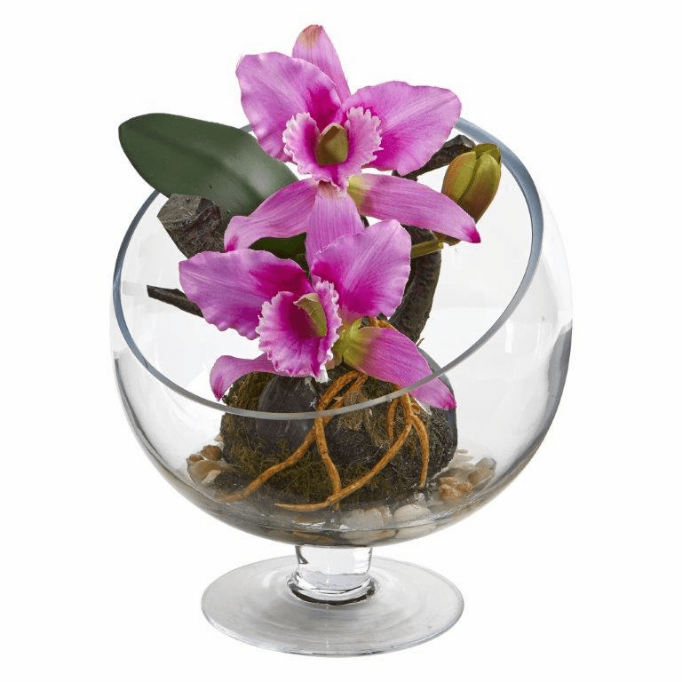 "11"" Mini Orchid Cattleya Artificial Arrangement in Pedestal Vase - Purple"