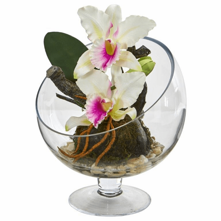 "11"" Mini Orchid Cattleya Artificial Arrangement in Pedestal Vase - White"