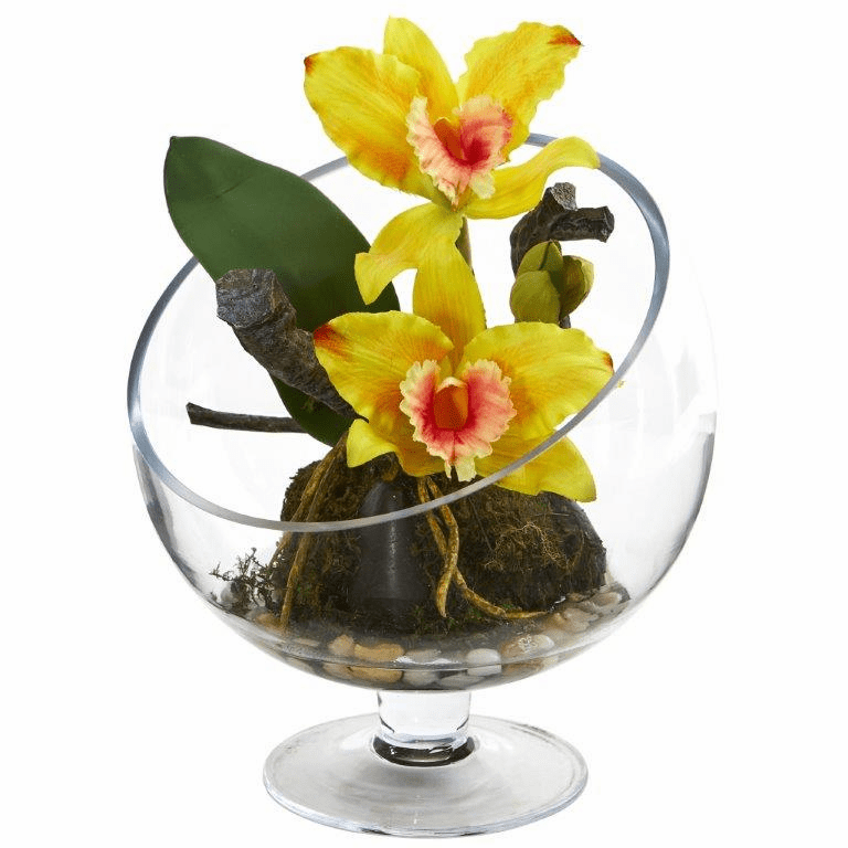 "11"" Mini Orchid Cattleya Artificial Arrangement in Pedestal Vase - Yellow"