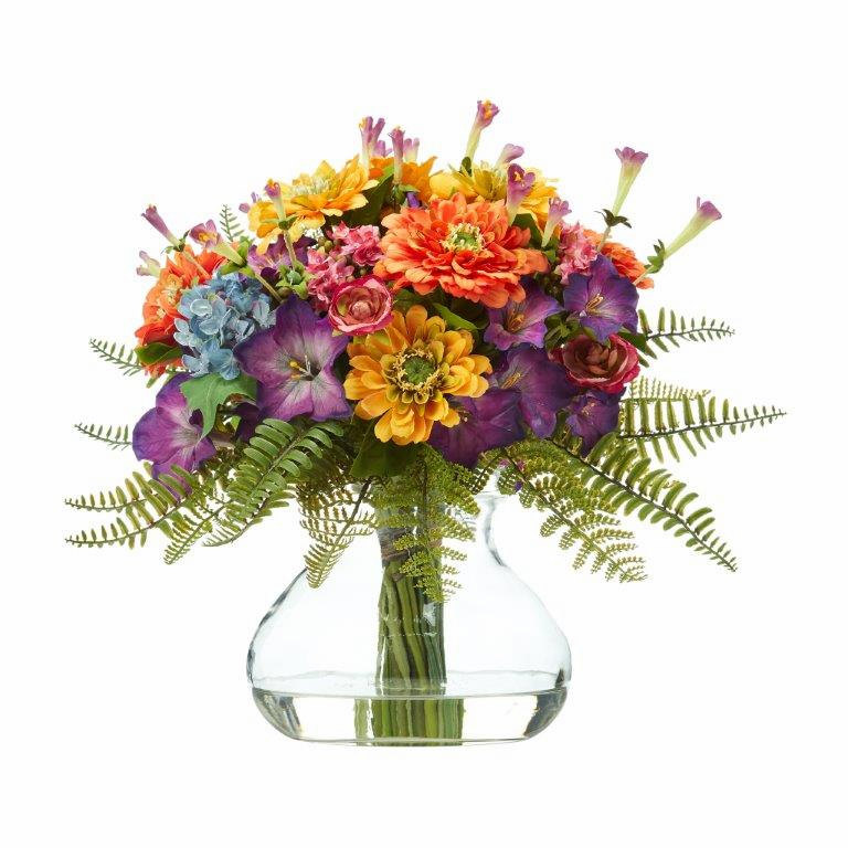11� Mixed Flowers Artificial Arrangement in Glass Vase
