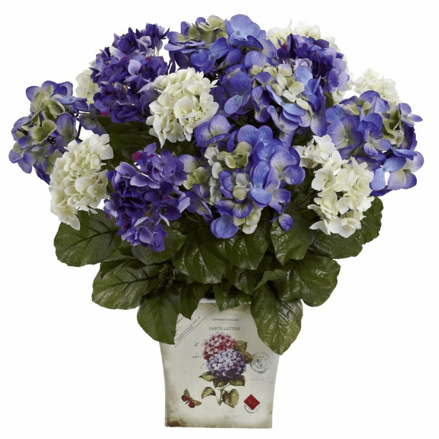 "11"" Mixed Hydrangea Artificial Flower with Floral Planter"
