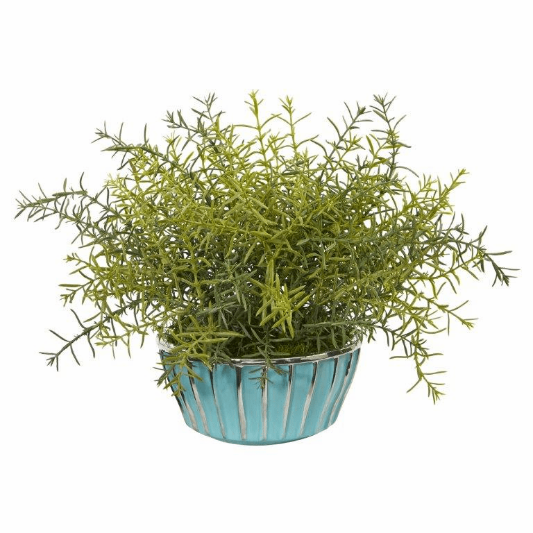 11� Rosemary Artificial Plant in Turquoise Bowl with Silver Trimming