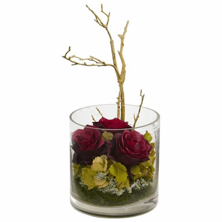 "11"" Roses & Hydrangeas Artificial Arrangement - Burgundy"