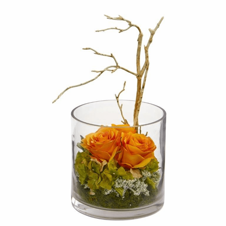 "11"" Roses & Hydrangeas Artificial Arrangement - Orange Yellow"
