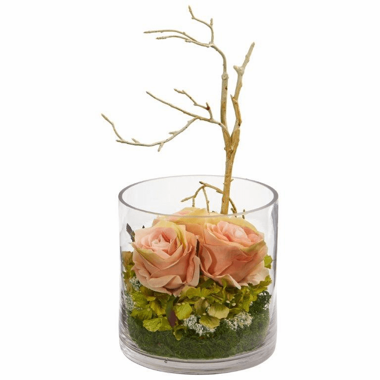 "11"" Roses & Hydrangeas Artificial Arrangement - Peach"
