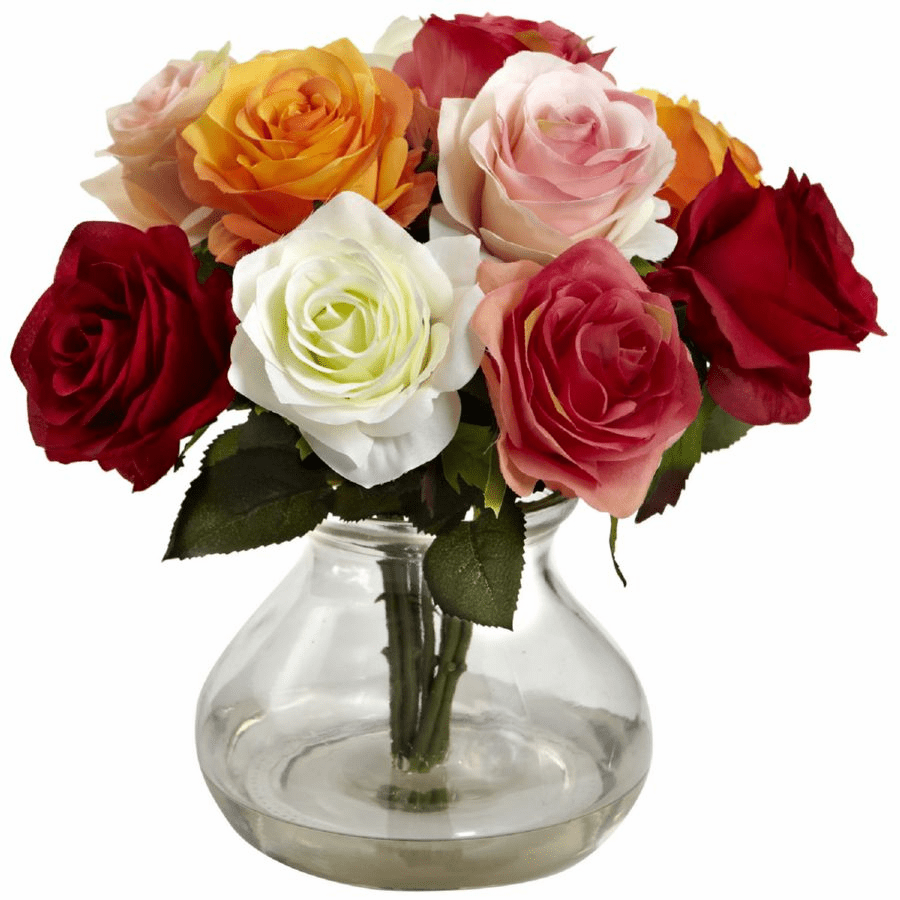 "11"" Silk Rose Artificial Flower Arrangement in Vase - Assorted"