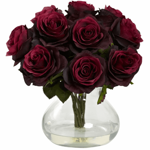 "11"" Silk Rose Artificial Flower Arrangement in Vase - Burgundy"