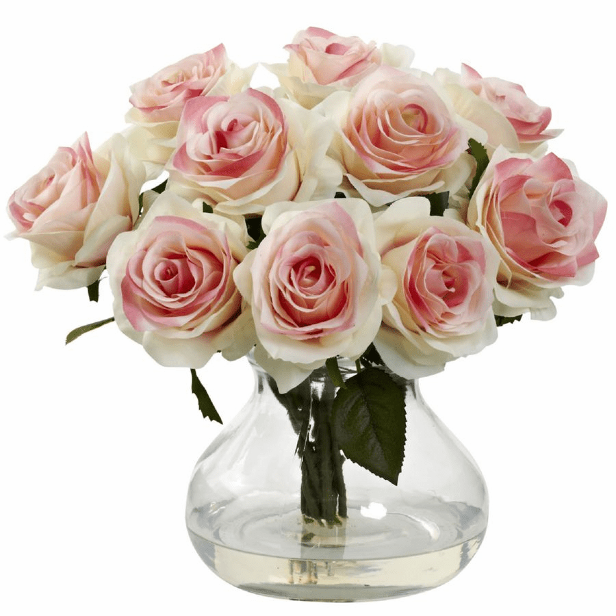 "11"" Silk Rose Artificial Flower Arrangement in Vase - Light Pink"