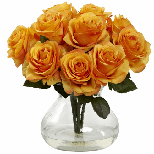 "11"" Silk Rose Artificial Flower Arrangement in Vase - Orange/Yellow"
