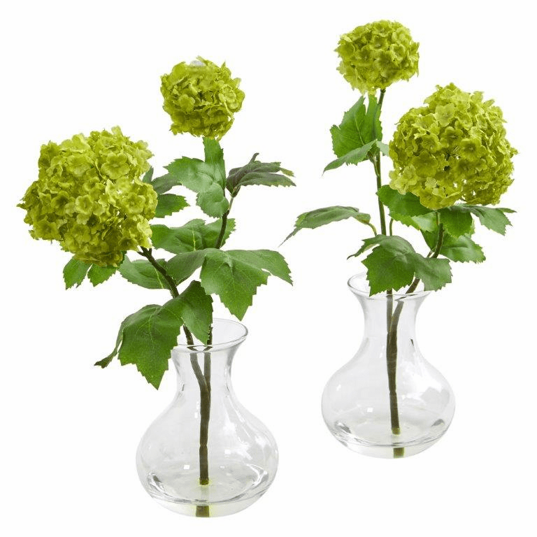 "11"" Snowball Hydrangea Artificial Arrangement in Vase (Set of 2)"