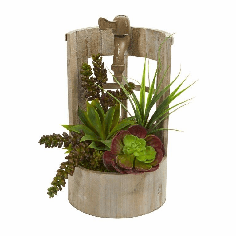 "11"" Succulent Garden Artificial Plant in Decorative Planter"