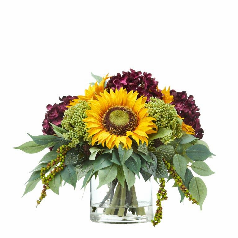 11� Sunflower and Hydrangea Artificial Arrangement - Purple