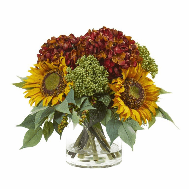 11� Sunflower and Hydrangea Artificial Arrangement - Rust