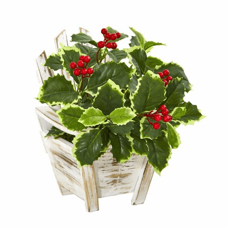 11� Variegated Holly Leaf Artificial Plant in Chair Planter (Real Touch)  -