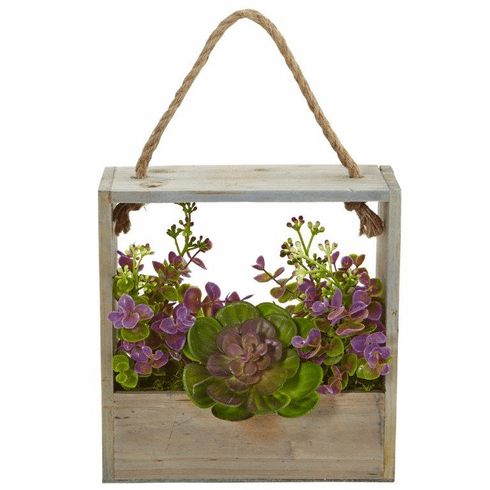 """12.5"""" Echeveria Succulent and Eucalyptus Artificial Plant in Hanging Frame"""