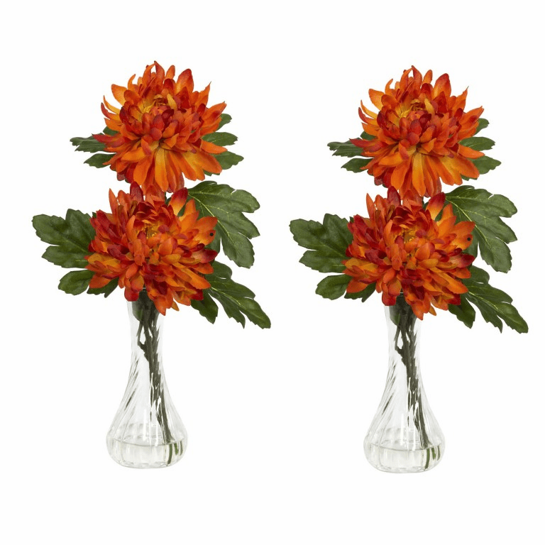 "12.5"" Mum with Bud Vase Silk Flower Arrangement (Set of 2)"