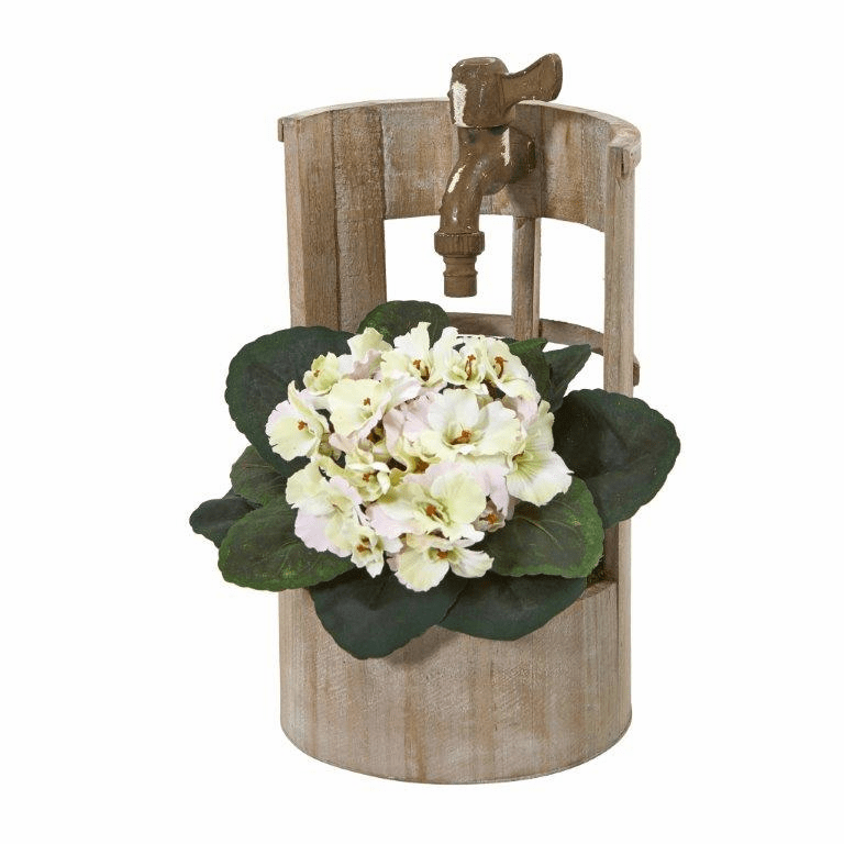 12� African Violet Artificial Plant in Faucet Planter - Cream Pink