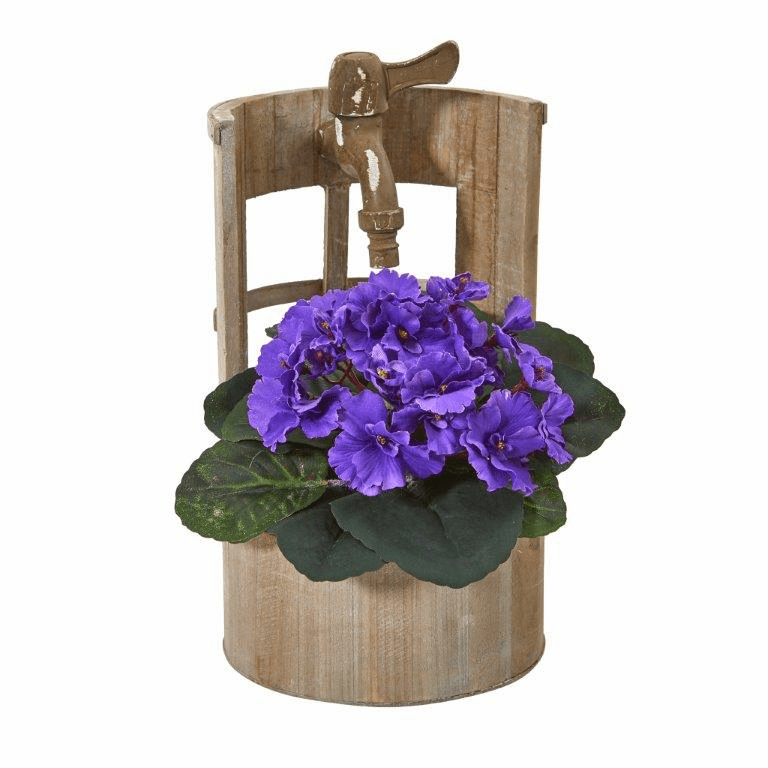 12� African Violet Artificial Plant in Faucet Planter - Purple
