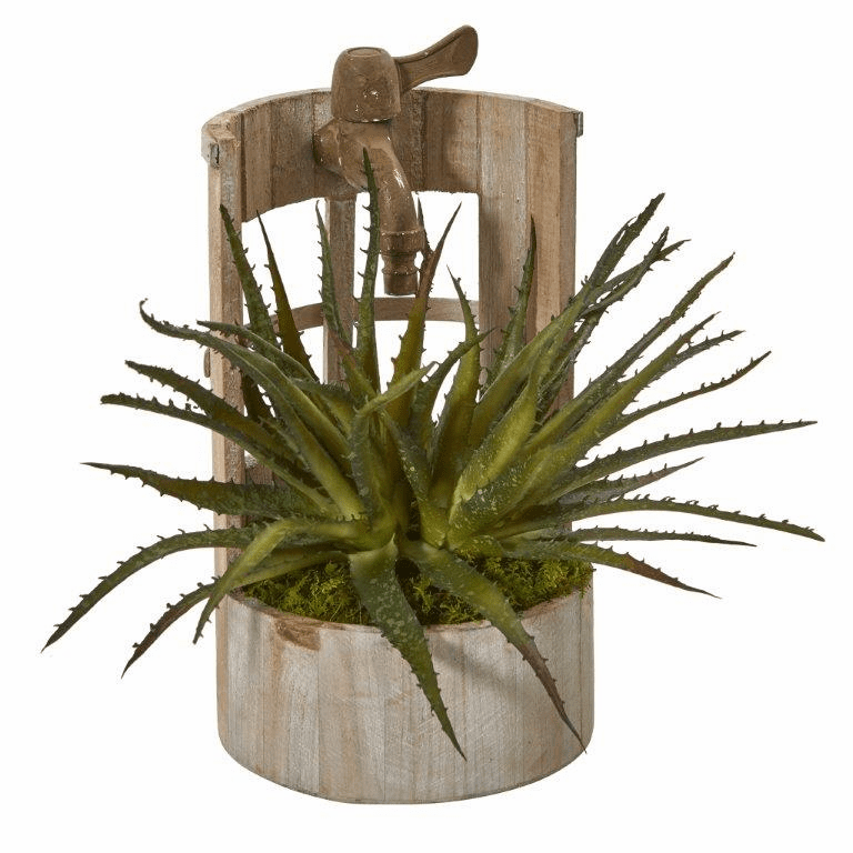 12� Aloe Artificial Plant in Faucet Planter