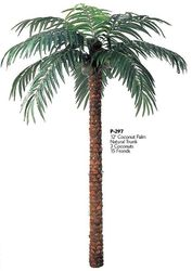 12' Artificial Coconut Palm NonPotted With 15 Fronds and 3 Coconuts.