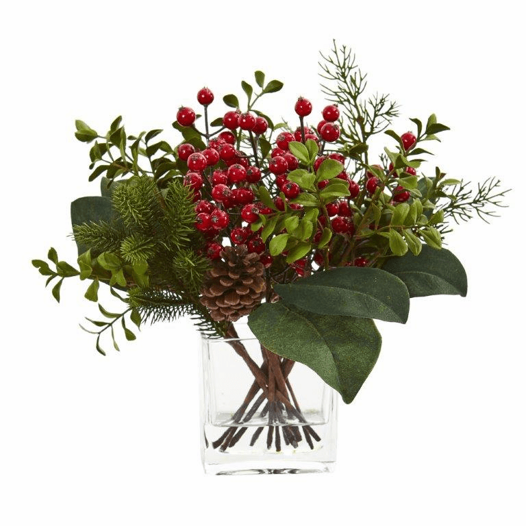 """12"""" Berry, Pine and Boxwood Artificial Arrangement"""