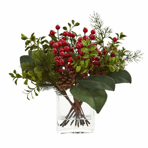 "12"" Berry, Pine and Boxwood Artificial Arrangement"