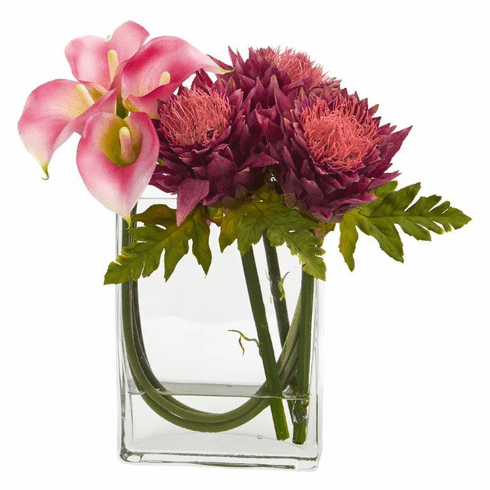 12'' Calla Lily and Artichoke in Rectangular Glass Vase Artificial Arrangement - Pink Mauve