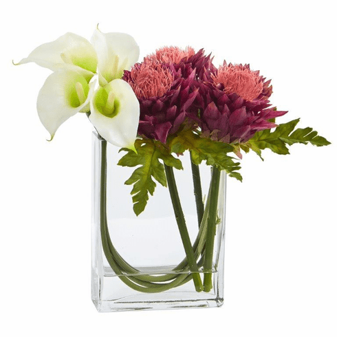 12'' Calla Lily and Artichoke in Rectangular Glass Vase Artificial Arrangement - White Mauve
