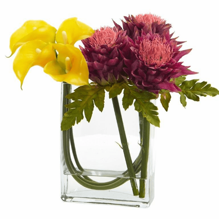 12�� Calla Lily and Artichoke in Rectangular Glass Vase Artificial Arrangement - Yellow Mauve