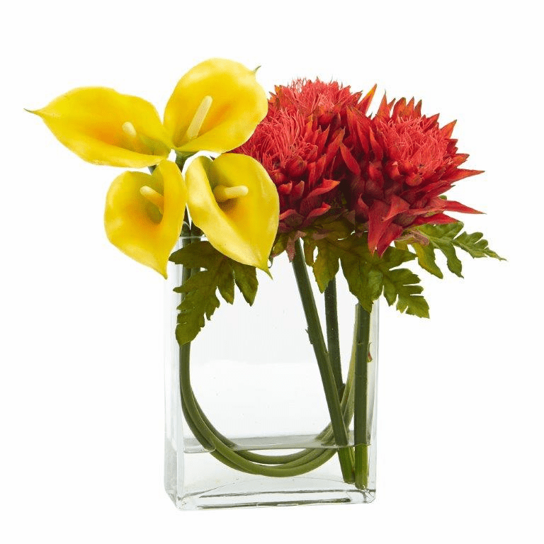 12�� Calla Lily and Artichoke in Rectangular Glass Vase Artificial Arrangement - Yellow Orange