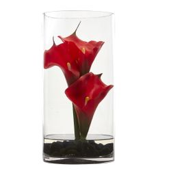 """12"""" Calla Lily Artificial Arrangement in Cylinder Glass"""