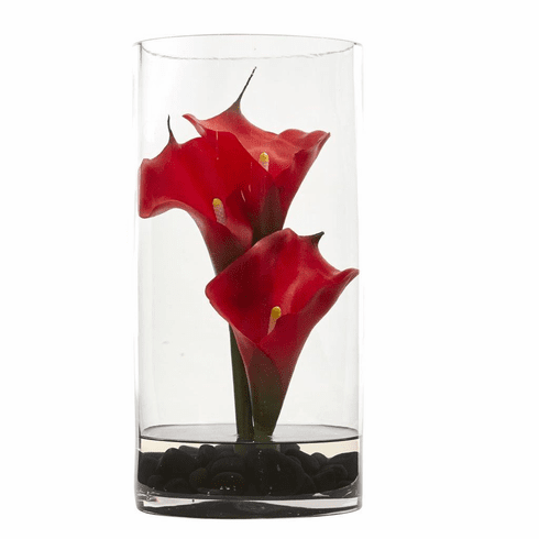 "12"" Calla Lily Artificial Arrangement in Cylinder Glass"